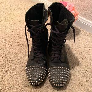 "Steve Madden ""Tarnney"" black leather combat boots"